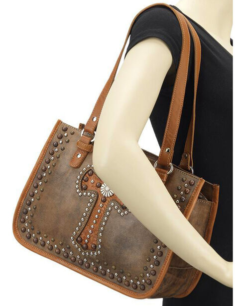 American West Women's Light Brown Leather Zip Top Tote , Lt Brown, hi-res