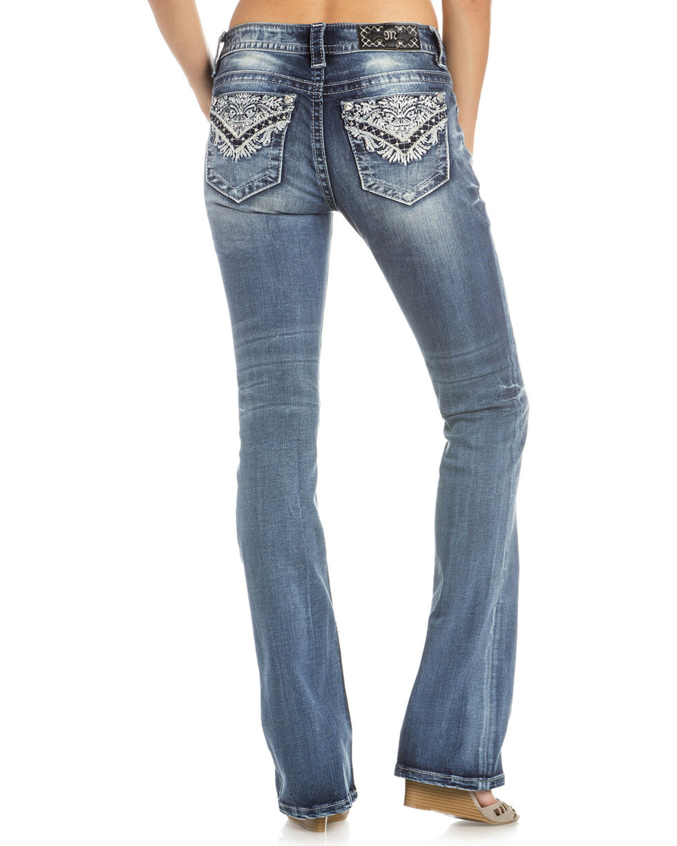 Miss Me Women's Intricate Embroidered Boot Cut Jeans , Indigo, hi-res