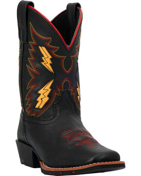 Dan Post Youth Boys' Lightning Bolt Cowboy Boots - Square Toe, Black, hi-res