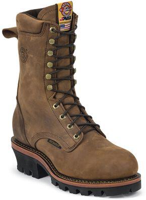 "Justin Men's Casement 10"" Aged Bark EH Waterproof Logger Boots - Steel Toe, Aged Bark, hi-res"