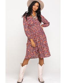Patrons of Peace Women's Floral Print Slit Midi Dress, Multi, hi-res