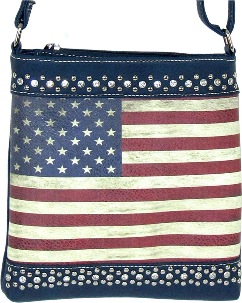 Savana Women's Blue American Flag Crossbody Bag , Blue, hi-res