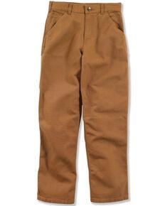 Carhartt Boys' 8-16 Brown Canvas Dungaree Pants , Brown, hi-res