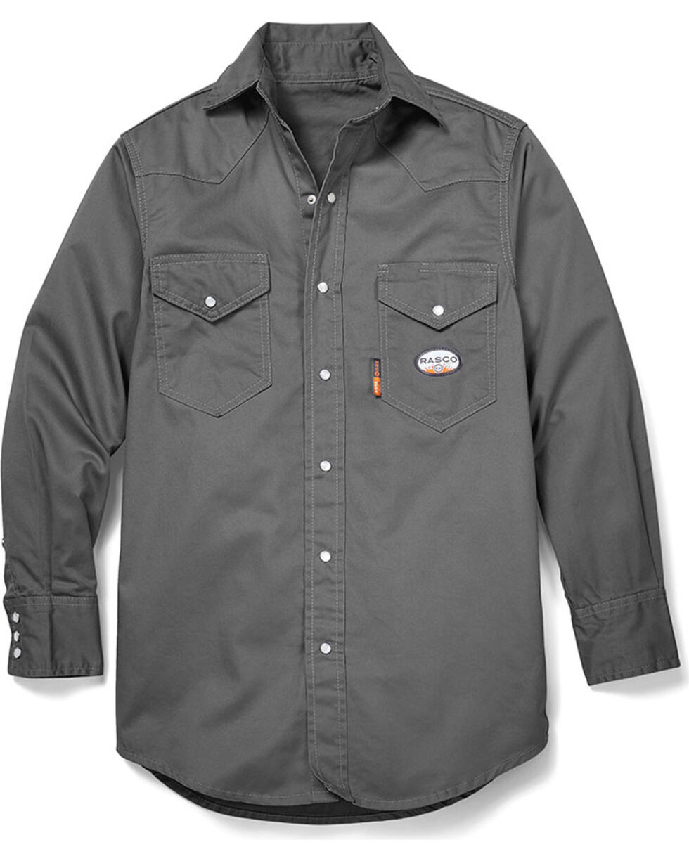 Rasco Men's Grey FR Lightweight Work Shirt - Big, Grey, hi-res