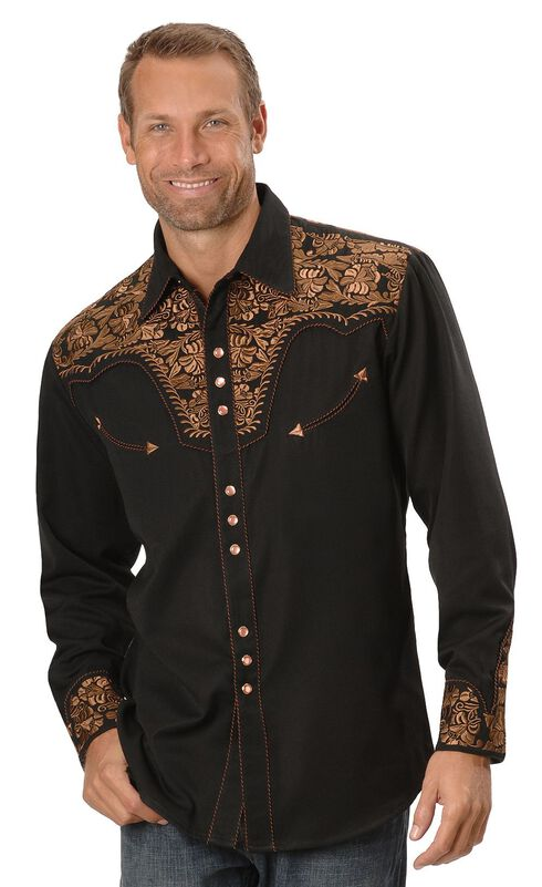Scully Floral Embroidered Western Shirt, Black, hi-res