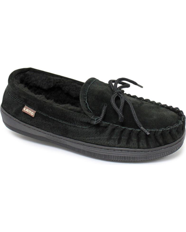 Chestnut Men's Leather Moccasin Slippers, Black, hi-res