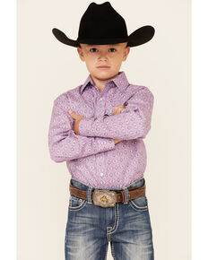 Panhandle Select Boys' Purple Aztec Print Long Sleeve Western Shirt , Purple, hi-res
