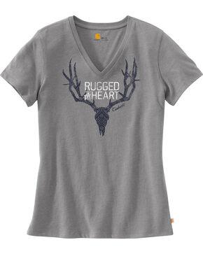 Carhartt Women's Wellton Short Sleeve V-Neck Graphic T-Shirt , Charcoal Grey, hi-res