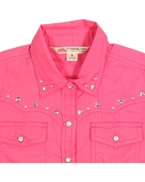 Cumberland Outfitters Girls' Pink Star Trim Long Sleeve Western Shirt, Pink, hi-res