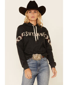 Shyanne Women's Charcoal Embroidered Logo Sleeve Pullover Hoodie , Charcoal, hi-res