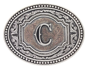 "Montana Silversmiths Men's Initial ""C"" Two-Tone Attitude Belt Buckle, Silver, hi-res"