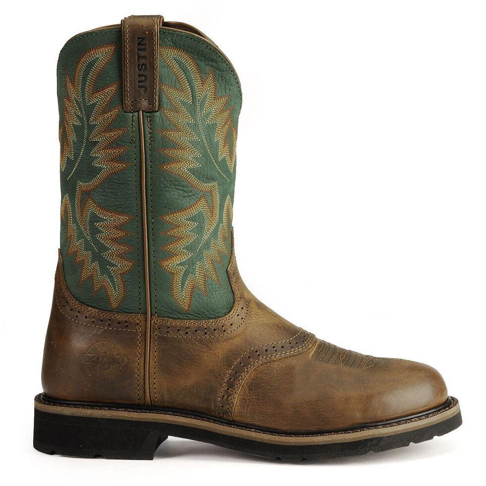 Justin Men's Stampede Superintendent Green Work Boots - Soft Toe, Tan Tail, hi-res