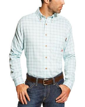 Ariat Men's Blue FR Rockford Work Shirt - Big and Tall, Blue, hi-res