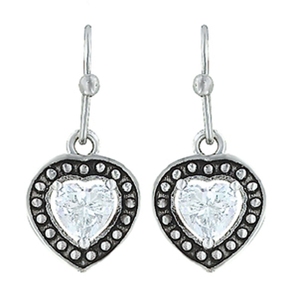 Montana Silversmiths Women's Pin Point Framed Heart Earrings , Silver, hi-res