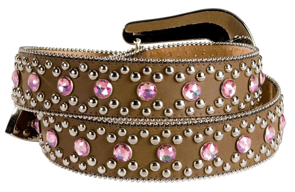 Blazin Roxx Pink Bling Belt, Brown, hi-res