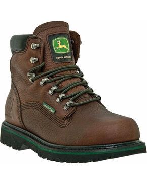 "John Deere Men's Leather 6"" Waterproof Lace-Up Work Boots, Brown, hi-res"