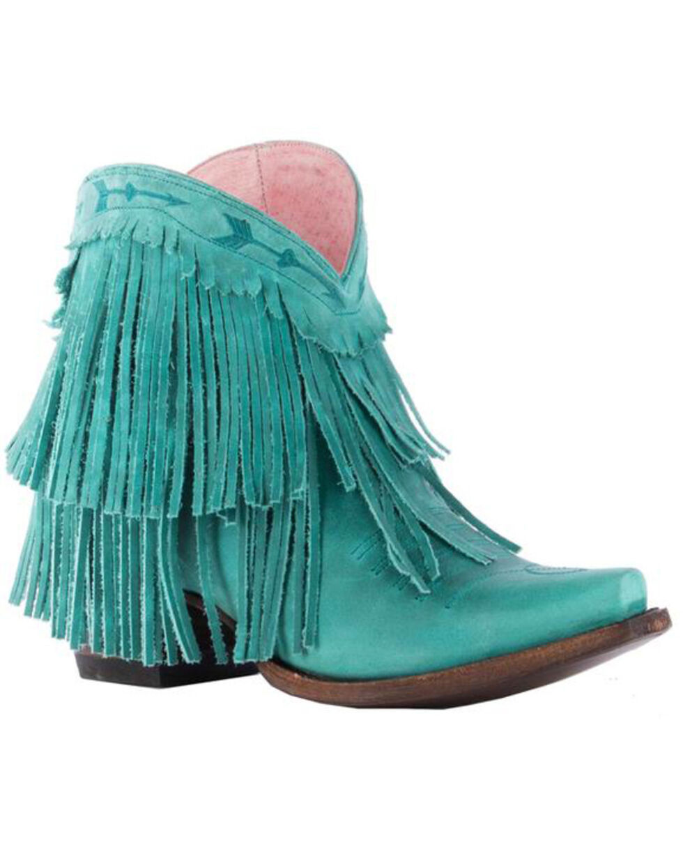 Junk Gypsy by Lane Women's Turquoise Spitfire Booties - Snip Toe , Turquoise, hi-res