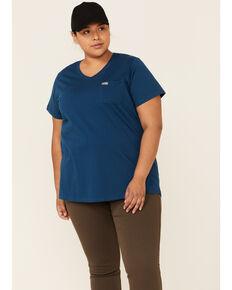 Ariat Women's Rebar Strong Retro Aztec Flag Back Logo Short Sleeve Work T-Shirt - Plus, Blue, hi-res