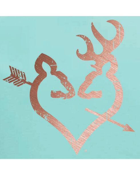 Browning Women's Teal Rose Gold Arrow Buckheart Tee , Teal, hi-res