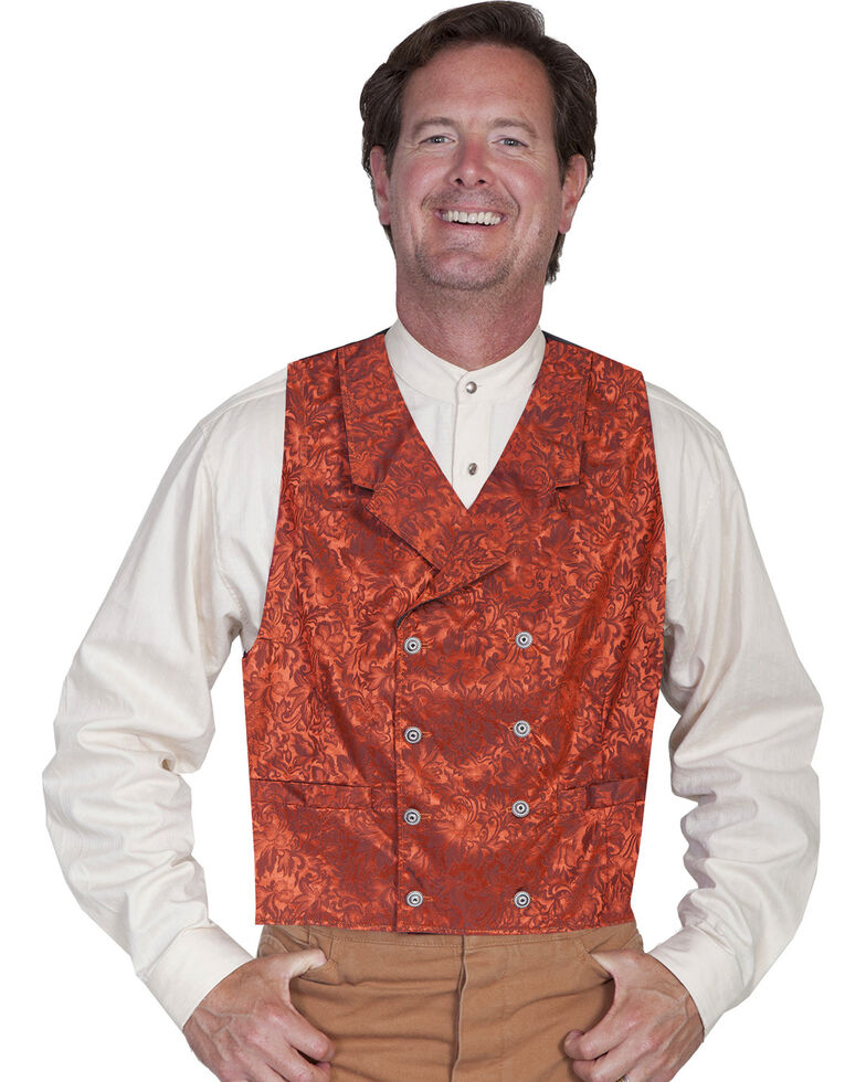 Wahmaker by Scully Floral Silk Double Breasted Vest - Big & Tall, Rust, hi-res