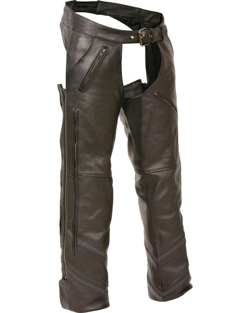 Milwaukee Leather Men's Reflective Piping Vented Chaps - 5X, Black, hi-res