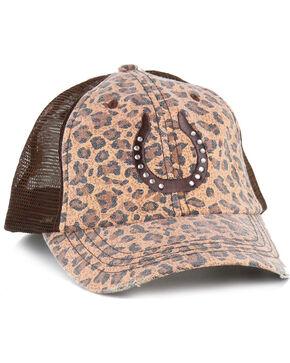 Shyanne Women's Canvas Leopard Print Ball Cap, Brown, hi-res