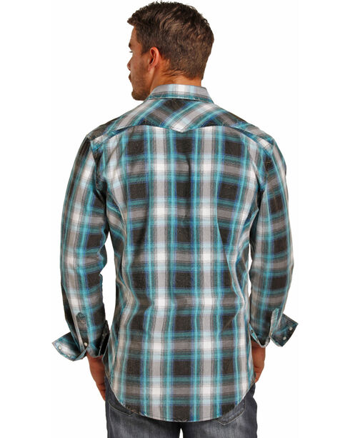 Rock & Roll Cowboy Men's Long Sleeve Turquoise Plaid Snap Shirt, Turquoise, hi-res