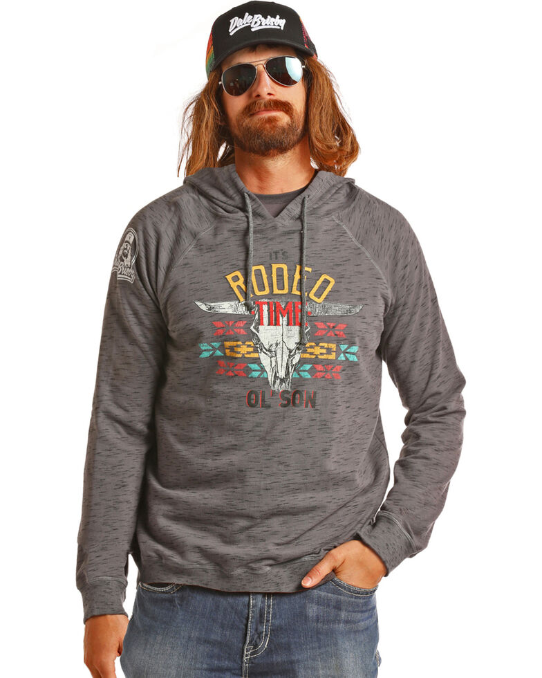 Dale Brisby Men s Charcoal Burnout Rodeo Time Hooded Sweatshirt ... 7fde30539f7a