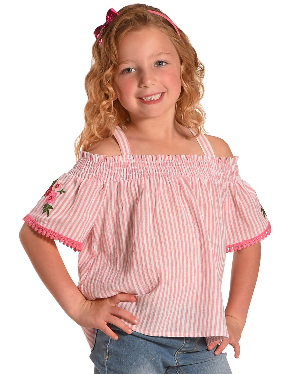 Idol Mind Girls' Bandana Print Off The Shoulder Shirred Top, Pink, hi-res
