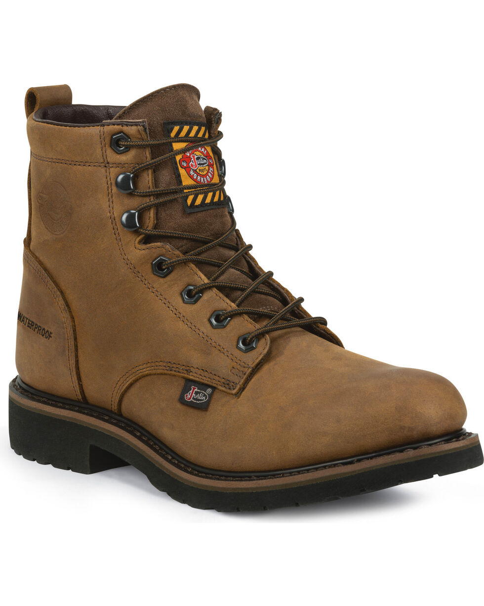 "Justin Men's Drywall Waterproof 6"" Work Boots - Soft Toe, Brown, hi-res"