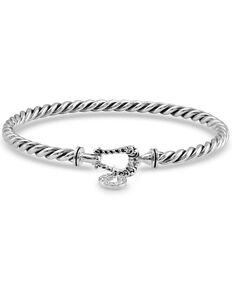 Montana Silversmiths Women's Buckled Luck Bangle Bracelet, Silver, hi-res
