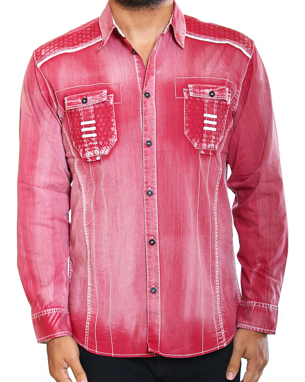 Austin Season Men's Red Faded Wash Long Sleeve Shirt , Red, hi-res