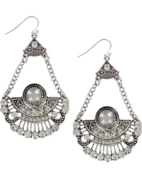 Shyanne Women's Silver Rhinestone Chandelier Earrings, Silver, hi-res