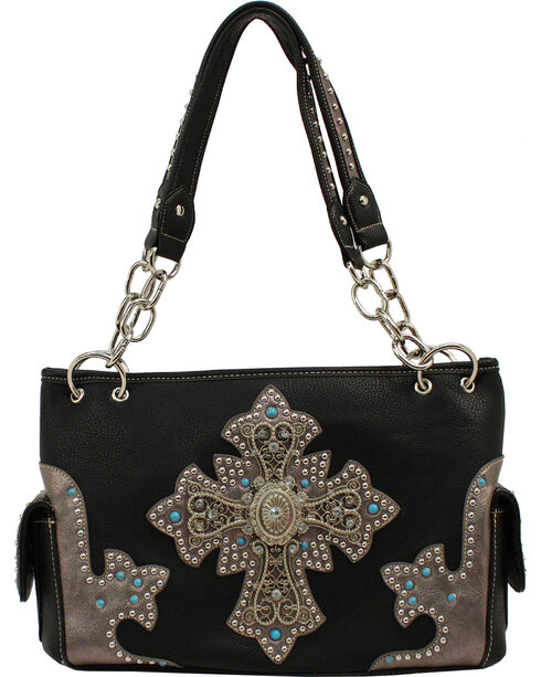 Blazin Roxx Cross Ornament Satchel, Black, hi-res