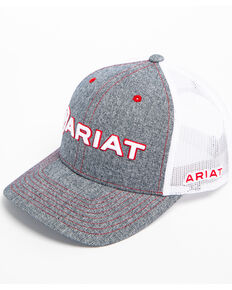 53688d0c45d12 Ariat Mens Heather Grey Embroidered Logo Trucker Cap