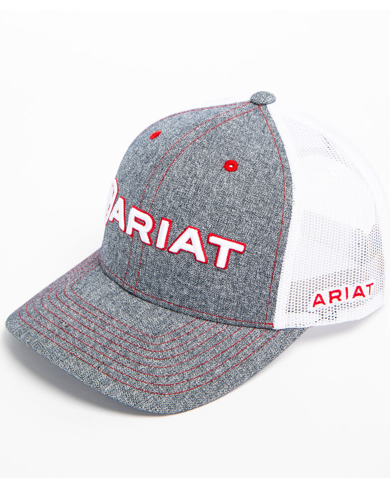 90bd7fed82fa7 Ariat Men s Heather Grey Embroidered Logo Trucker Cap