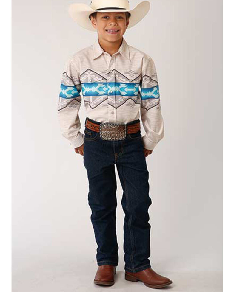 West Made Boys' Aztec Border Print Long Sleeve Western Shirt , Tan, hi-res