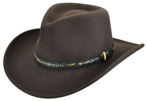 Bailey Men's Recoil Wool Felt Outback Hat, Brown, hi-res