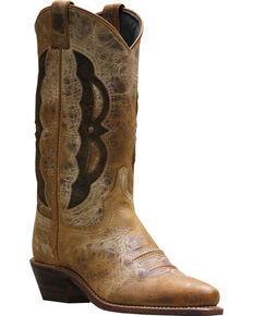 Abilene Beige Western Cutout Cowgirl Boots - Pointed Toe , Beige, hi-res