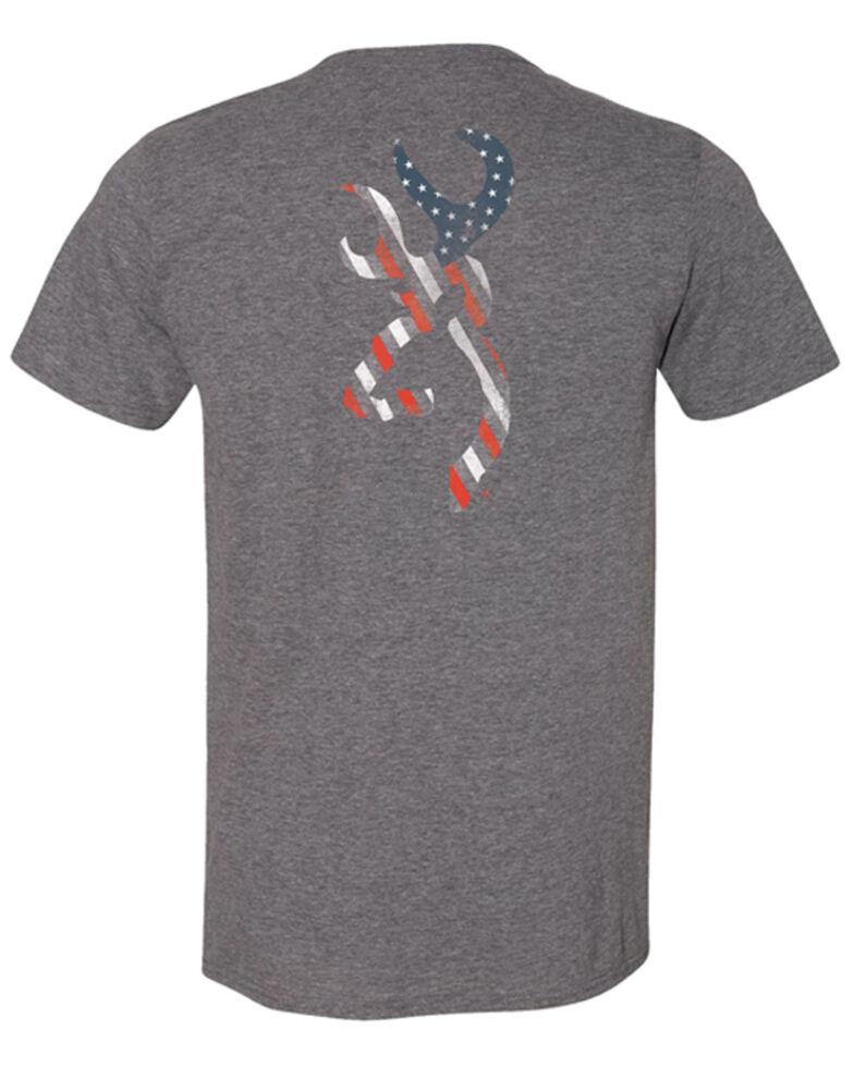 Browning Men's Stars & Stripes Buck Mark Logo Short Sleeve T-Shirt , Grey, hi-res