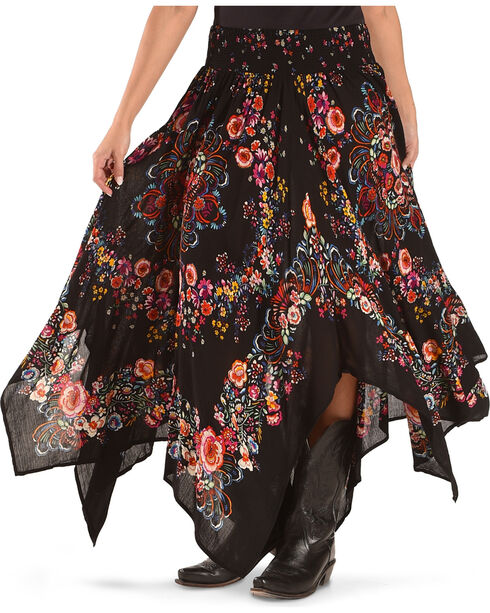 Bila Women's Black Floral Handkerchief Skirt , Black, hi-res