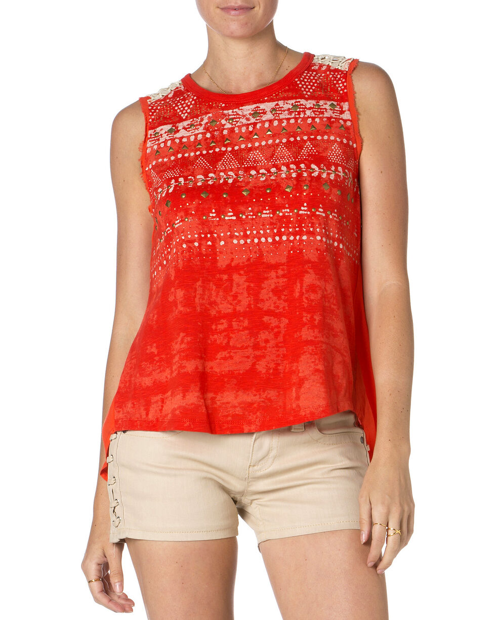 Miss Me Red Studded Tank Top , Red, hi-res
