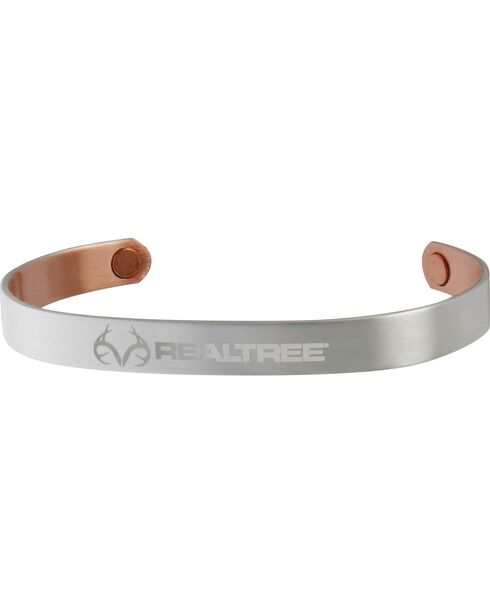 Sabona Unisex Realtree Brushed Silver Plated Copper Wristband, Silver, hi-res