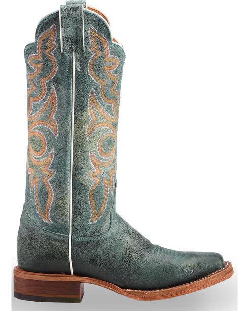 Justin Women's Turquoise Bent Rail Katia Cowgirl Boots - Square Toe, Medium Yellow, hi-res