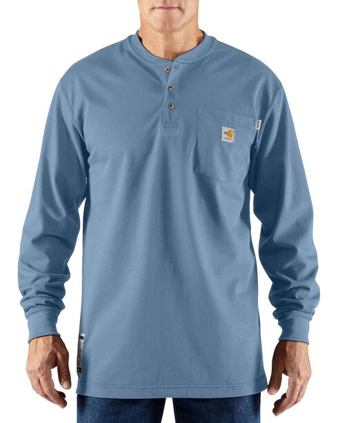 Carhartt Flame Resistant Long Sleeve Work Henley Shirt - Big & Tall, Med Blue, hi-res