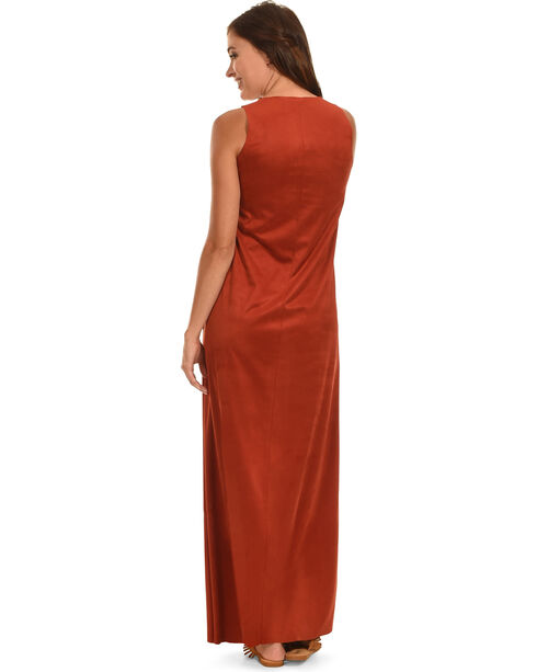 Cowgirl Justice Women's Faux Suede Maxi Dress, Rust Copper, hi-res