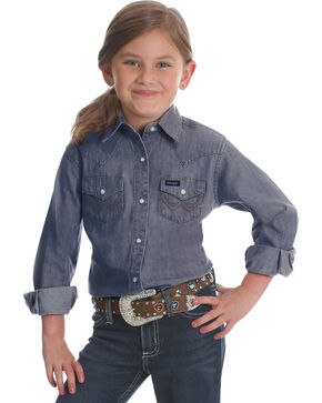 Wrangler Girls' Indigo Denim Western Shirt , Indigo, hi-res