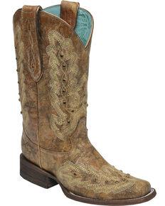Corral Women's Metallic Cognac Stitching & Studs Cowgirl Boots - Square Toe, Cognac, hi-res