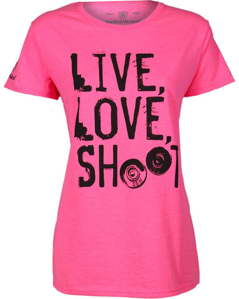 Smith & Wesson Women's Pink Live Love Shoot Classic T-Shirt, Hot Pink, hi-res