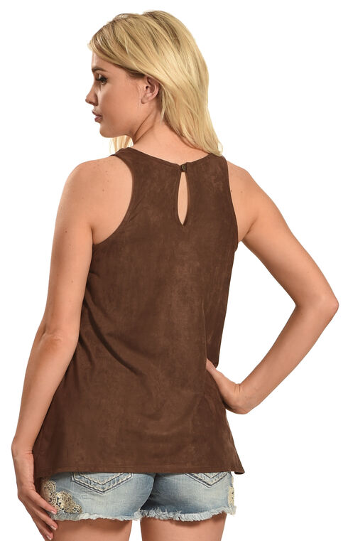 Jody of California Women's Blue Lace Micro Suede Top , Brown, hi-res